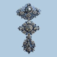 Normandy Cross Pendant, With Diamonds in God and Silver, Georgian