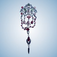 Austro-Hungarian Pendant, Emeralds, Garnets, and Pearls, Victorian