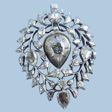 Rose cut Diamond Heart Pendant, French, Georgian