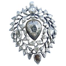 Rose cut Diamond Heart Pendant, French, Georgian