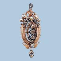 18 carat pendant, Brooch, Rose Cut diamonds, Victorian