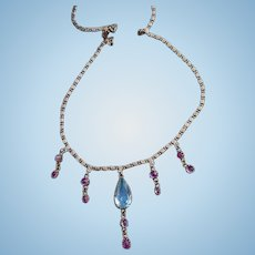 18 carat, Ruby and Aquamarine necklace, Victorian