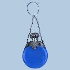 Blue Glass Scent bottle with silver top, with chain and ring