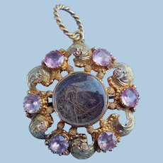 Pink Topaz Brooch/Pendant, early Victorian