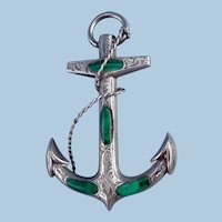 Anchor Brooch/Pendant , Scottish, Malacite and Silver, Victorian