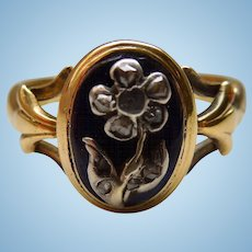 Memorial Ring, Rose Cut Diamonds on Verre Eglomise, Georgian