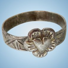 Medieval Silver Band With Heart