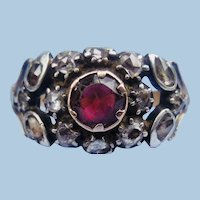 Garnet and Rose Cut Diamond Ring, Georgian