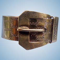 Victorian Buckle Ring,14K, Hand Engraved