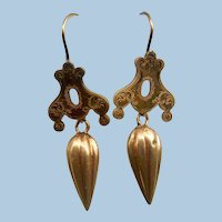 Victorian Amphora Drop Earrings, 14 K, Etruscan