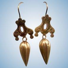 Victorian Amphora Drop Earrings, 14 K, Etruscan