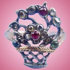 Giardinetti Ring, Rose Cut Diamonds, rubies, Emerald, Georgian