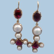 Natural Pearl and Garnet Earrings, Victorian