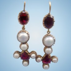 Natural Pearl and Garnet Earrings, Victorian