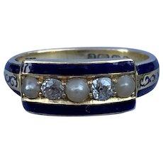 18 Carat Ring, Rose Cut Diamonds, And Blue Enamel