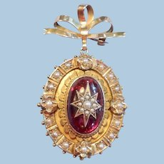 18 carat Garnet and Pearl Locket/Brooch, Victorian