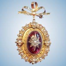 18 carat Garnet and Pearl Locket/Brooch, Victorian