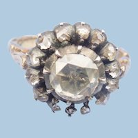 Rose Cut Diamond Ring Cluster, Victorian
