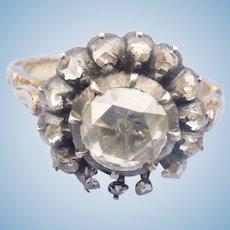 Rose Cut Diamond Ring Cluster, Victorian