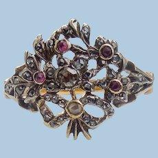 Georgian Giardinetti Ring, Rubies and diamonds, CA 1780
