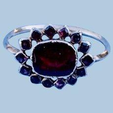Foiled, flat cut garnet ring, Georgian