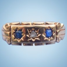 18 carat Gypsy Band, with sapphires, and a rosecut diamond, Late Victorian