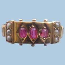 Late Victorian Gypsy Band With Rubies and Natural Pearls
