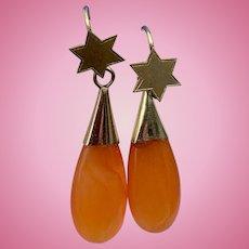 9. carat Carnelian earrings, Art Nouveau