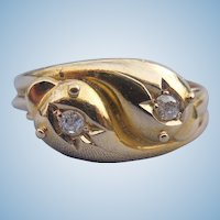 Double Snake Ring, Two Rose Cut Diamonds, Edwardian