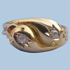 Double Snake Ring, Two Rose Cut Diamonds, Edwardian