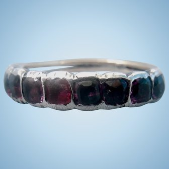Garnet Half Hoop Ring, Georgian