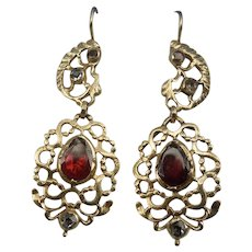 Garnet Earrings, Spanish, Georgian