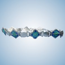 Silver and enamel  Arts and Crafts Bracelet