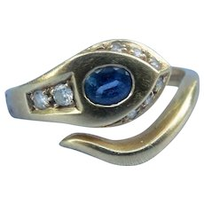 18 carat Sapphire and Diamond Snake Ring
