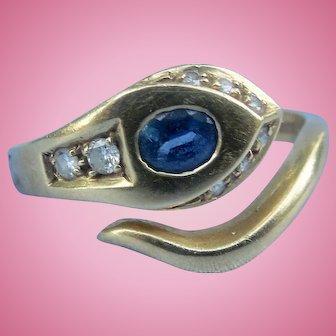 18 carat Sapphire and Diamond Snake Ring