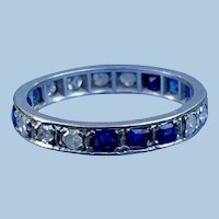 White Gold Eternity Band, With Sapphires and Diamonds