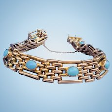 "9 carat Turquoise ""Gate"" bracelet, late Victorian"