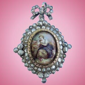 Enamel and Natural Pearl Locket, Silver, Victorian