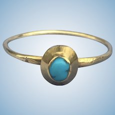 Medieval Turquoise Stirrup Ring, CA 1400