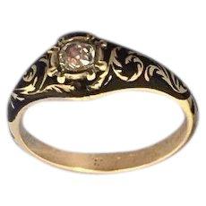 Black Enamel and Rose Cut Diamond Memorial/ Mourning Ring, Victorian