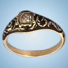 Black Enamel and Rose Cut Diamond Memorial/ Mourning Ring, Victorian