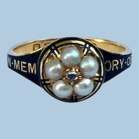 In Memory of Mourning Ring, Black Enamel, Natural Pearls, Rose Cut Diamond