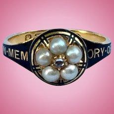 In Memory of Mourning Ring, Black Enamel, Natural Pearls, Rose Cut Diamond