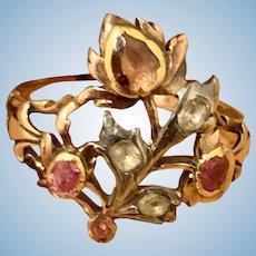 Giardinetti Ring, Rose Cut Diamonds and Rubies, Georgian