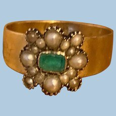 Emerald and Natural Pearl Ring, 1840