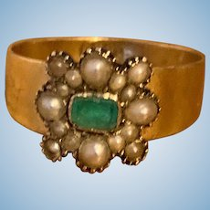 Emerald and Natural Pearl Ring, 1840