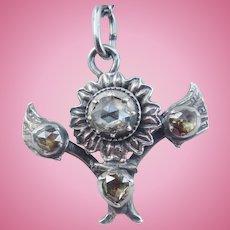 Rose Diamond Pendant and Chain, Georgian