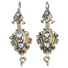 18 carat, French, Night and Day Rose Cut Diamond Earrings, Victorian