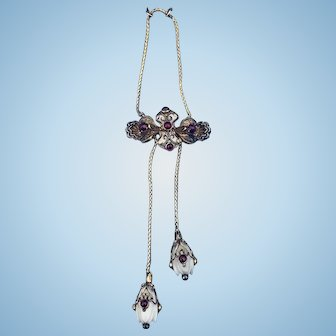 Cabochon Garnet Pendant, 9 ct, with white coral