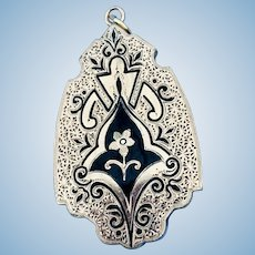 15 ct Gold Locket with Black Enamel, Victorian